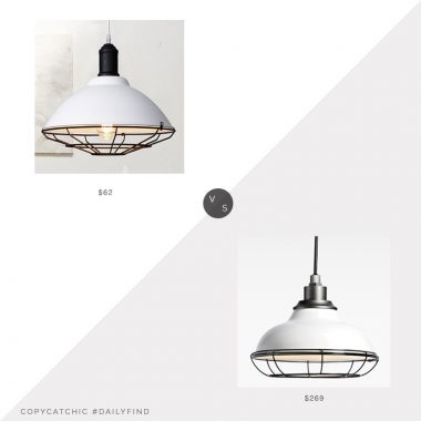 Rejuvenation Carson Pendant $269 vs. Beautiful Halo Industrial Pendant $62, cage pendant light look for less, copycatchic luxe living for less, budget home decor and design, daily finds, home trends, sales, budget travel and room redos