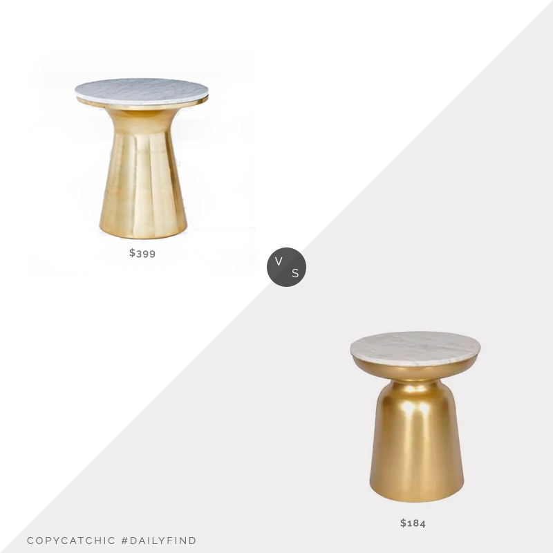 West Elm Marble Topped Pedestal Side Table $399 vs. Overstock Jamal Steel/Marble End Table by Greyson Living $184, gold marble side table look for less, copycatchic luxe living for less, budget home decor and design, daily finds, home trends, sales, budget travel and room redos