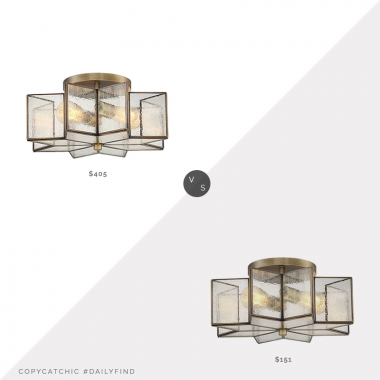 Daily Find: Lumens Isabel Semi-Flushmount $405 vs. Lights Online Trade Winds Star Semi-Flush Ceiling Light in Natural Brass $151, star flushmount light look for less, copycatchic luxe living for less, budget home decor and design, daily finds, home trends, sales, budget travel and room redos
