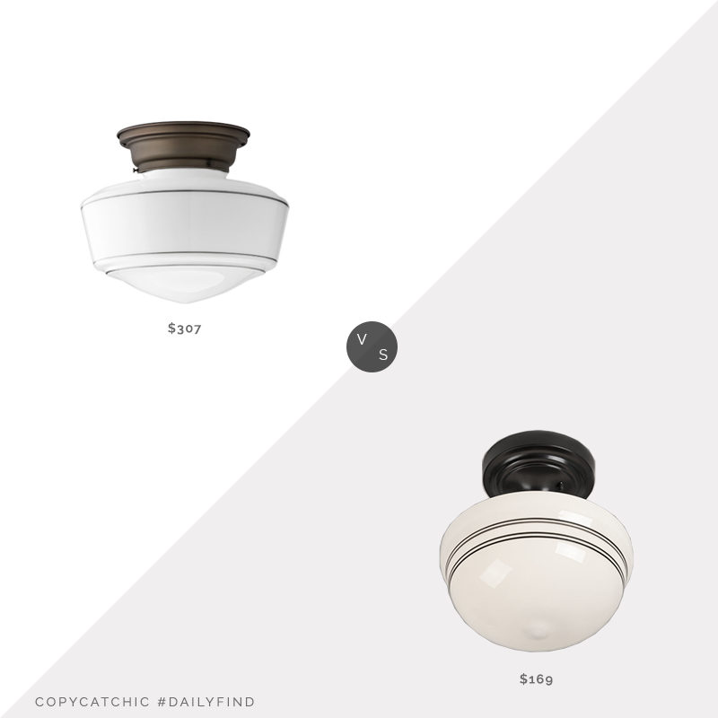 "Schoolhouse Otis 6"" Fixture & Traditional Schoolhouse Shade $307 vs. Shades of Light Striped Schoolhouse Ceiling Light $169, schoolhouse light fixture look for less, copycatchic luxe living for less, budget home decor and design, daily finds, home trends, sales, budget travel and room redos"