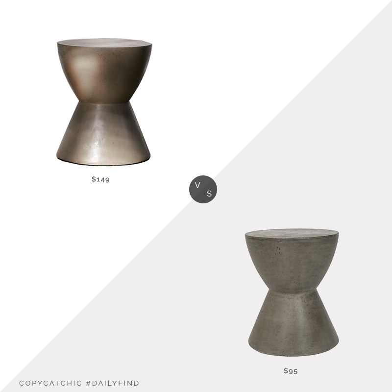 Daily Find: Urban Outfitters Alper Hourglass Outdoor Stool$149 vs. Overstock Safavieh Athena Concrete Indoor/Outdoor Accent Table $95, concrete garden stool look for less, copycatchic luxe living for less, budget home decor and design, daily finds, home trends, sales, budget travel and room redos