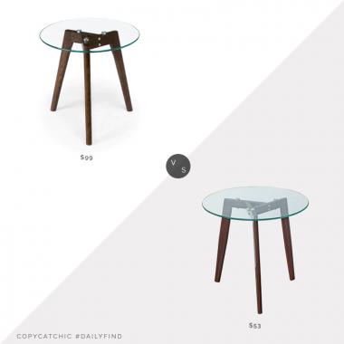 daily find: Article Clarus Walnut Side Table vs. Poly & Bark Triskele Walnut End Table, wood glass side table look for less, copycatchic luxe living for less, budget home decor and design, daily finds, home trends, sales, budget travel and room redos