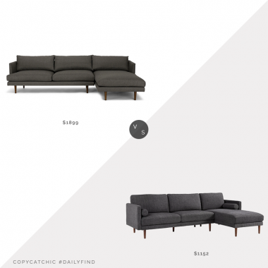Daily Find: Article Burrard Sectional Sofa vs. Overstock Oana Mid-Century Sectional Sofa, mid century sectional look for less, copycatchic luxe living for less, budget home decor and design, daily finds, home trends, sales, budget travel and room redos