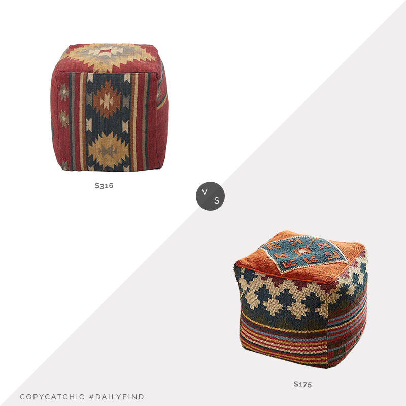 Daily Find: Bellacor Surya Wool Kilim Pouf vs. Sundance Casa Kilim Pouf, kilim pouf look for less, copycatchic luxe living for less, budget home decor and design, daily finds, home trends, sales, budget travel and room redos