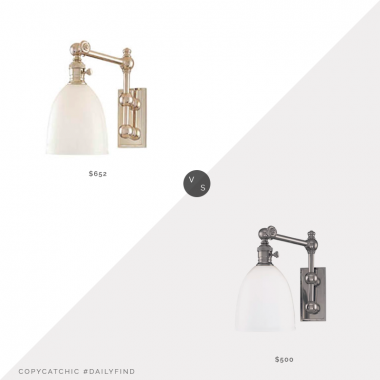 Daily find: Bellacor Hudson Valley Roslyn Polished Nickel Swing Arm Wall Sonce $652 vs. Wayfair Darby Home Co Bruna Swing Arm Lamp $500, polished nickel sconce look for less, copycatchic luxe living for less, budget home decor and design, daily finds, home trends, sales, budget travel and room redos