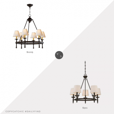 Circa Lighting Classic Mini Ring Chandelier vs. Target Ceiling Lights Chandelier Oil Rubbed Bronze, bronze chandelier look for less, copycatchic luxe living for less, budget home decor and design, daily finds, home trends, sales, budget travel and room redos