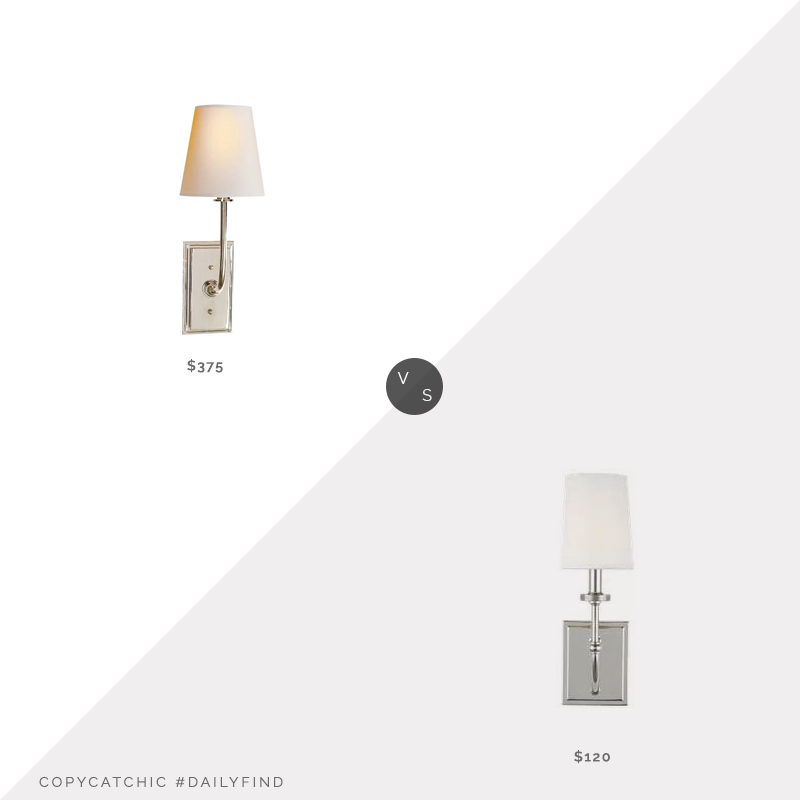 Daily Find: Circa Lighting Hulton Sconce vs. Wayfair Charlton Home Sturges Outdoor Sconce $120, silver wall sconce look for less, copycatchic luxe living for less, budget home decor and design, daily finds, home trends, sales, budget travel and room redos