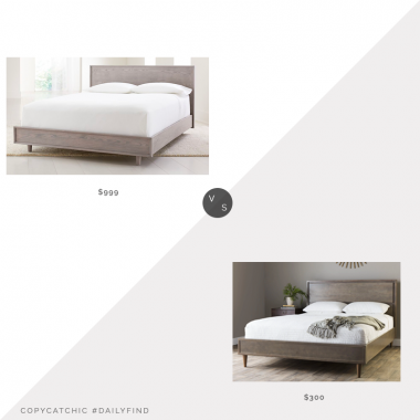 Daily Find: Crate and Barrel Tate Stone Bed vs. Overstock Strick & Bolton Vilas Light Charcoal Mid Century Bed, gray wood bed look for less, copycatchic luxe living for less, budget home decor and design, daily finds, home trends, sales, budget travel and room redos