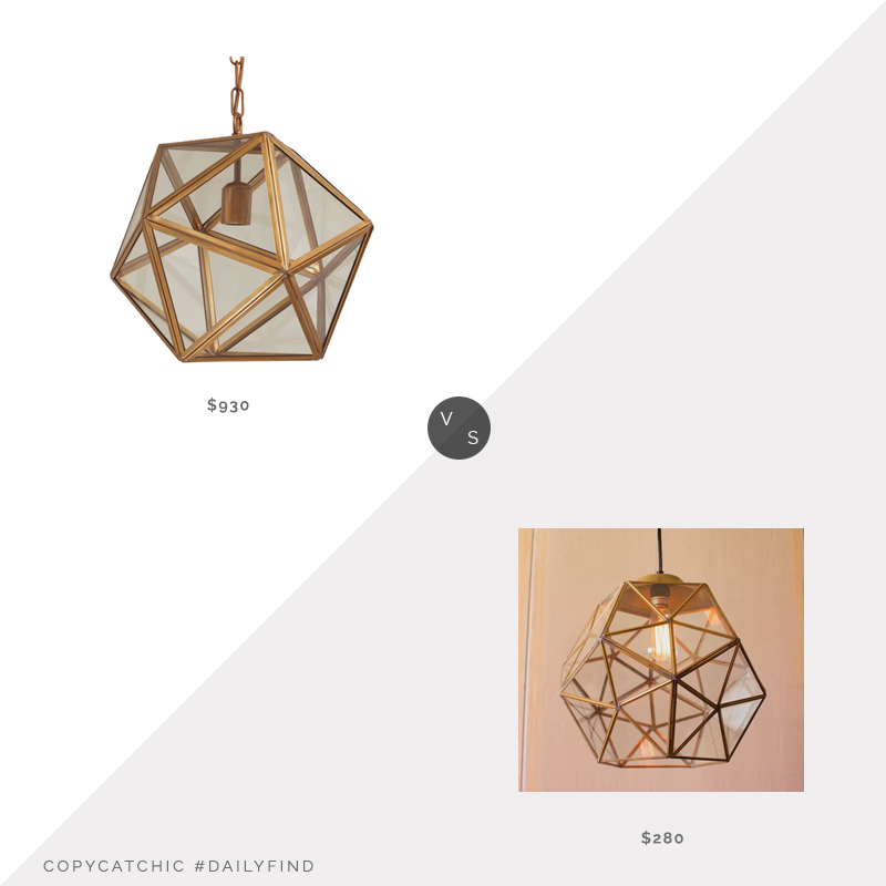 Daily Find: Dering Hall Fenton Lantern vs. All Modern Edelman Glass 1-Light Lantern Pendant, geometric light fixture look for less, copycatchic luxe living for less, budget home decor and design, daily finds, home trends, sales, budget travel and room redos
