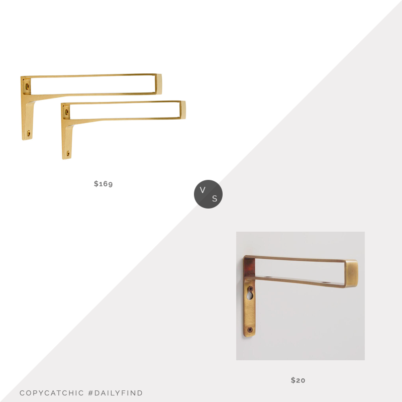 Daily Find: Rejuvenation Strap Shelf Brackets vs. World Market Antique Brass Mix & Match Shelf Brackets Set of 2, brass shelf bracket look for less, copycatchic luxe living for less, budget home decor and design, daily finds, home trends, sales, budget travel and room redos