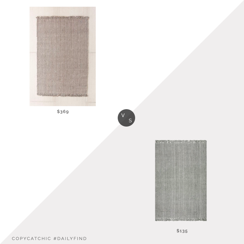 Daily Find: Urban Outfitters Chunky Fringe Woven Jute Rug vs. Home Depot nuLOOM Chunky Loop Jute Grey Rug, gray jute rug look for less, copycatchic luxe living for less, budget home decor and design, daily finds, home trends, sales, budget travel and room redos