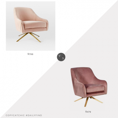 Daily find: West Elm Roar + Rabbit Pleated Swivel Chair vs. Macy's Elle Decor Jolie Swivel Lounge Chair, swivel chair look for less, copycatchic luxe living for less, budget home decor and design, daily finds, home trends, sales, budget travel and room redos