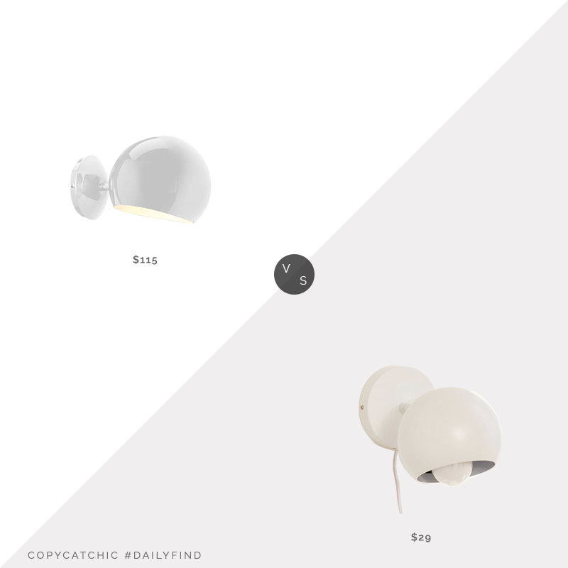 Daily Find: France & Son Modern Bob Wall Sconce vs. Urban Outfitters Matte Gumball Sconce, white globe sconce look for less, copycatchic luxe living for less, budget home decor and design, daily finds, home trends, sales, budget travel and room redos