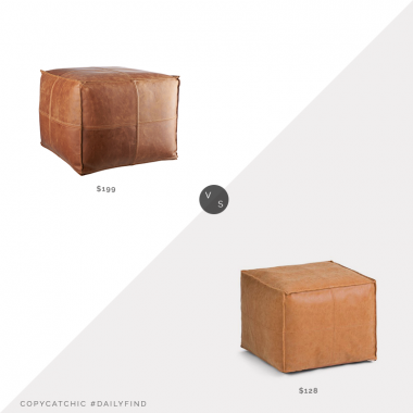 Daily Find: CB2 Brown Leather Pouf vs. Walmart Simpli Home Brody Square Pouf, square leather pouf look for less, copycatchic luxe living for less, budget home decor and design, daily finds, home trends, sales, budget travel and room redos
