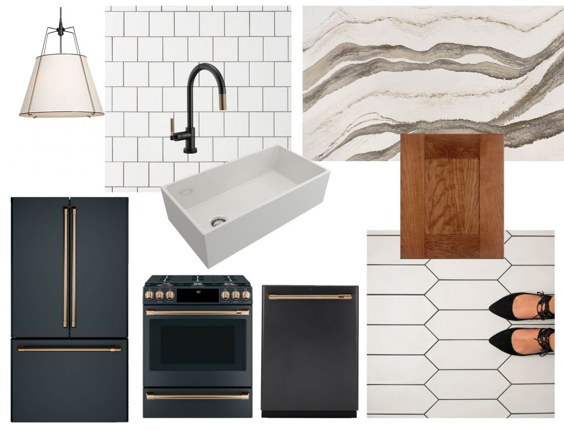 Copy Cat Chic  inspiration for my kitchen renovation. Medium toned wood cabinets paired with white picket tile, matte black appliances with gold, copper and bronze-toned hardware.