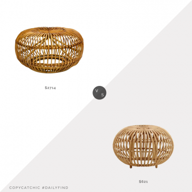 Daily Find: 1st Dibs Mid-Century Modern Vintage Rattan Pouf vs. All Modern Franco Alibini Indoor Ottoman, rattan ottoman look for less, copycatchic luxe living for less, budget home decor and design, daily finds, home trends, sales, budget travel and room redos