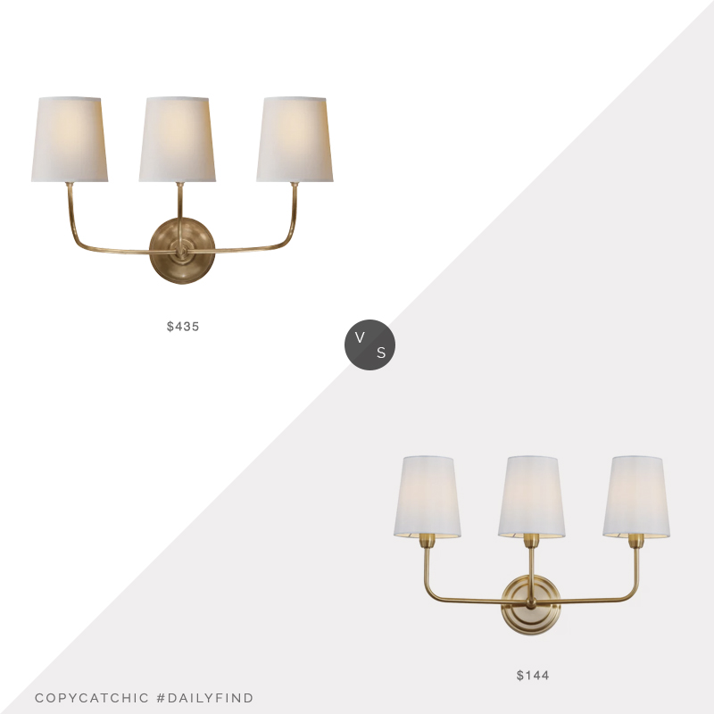 Daily Find: Circa Vendome Triple Sconce vs. Wayfair Carmack 3 Light-Armed Sconce, 3 light sconce look for less, copycatchic luxe living for less, budget home decor and design, daily finds, home trends, sales, budget travel and room redos