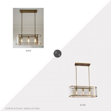 Daily Find: West Elm Trough Chandelier vs. Overstock Nefer Brushed Brass Chandelier, brass chandelier look for less, copycatchic luxe living for less, budget home decor and design, daily finds, home trends, sales, budget travel and room redos
