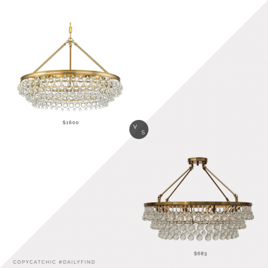 Daily Find: One Kings Lane Calypso 6-Light Chandelier vs. Overstock Celeste Flush Mount Glass Drop Crystal Chandelier, glass drop chandelier look for less, copycatchic luxe living for less, budget home decor and design, daily finds, home trends, sales, budget travel and room redos
