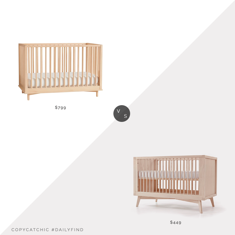 West Elm Nash Convertible Baby Crib $799 vs. Simply Nursery Baby Retro Convertible Crib $449, light wood crib look for less, copycatchic luxe living for less, budget home decor and design, daily finds, home trends, sales, budget travel and room redos