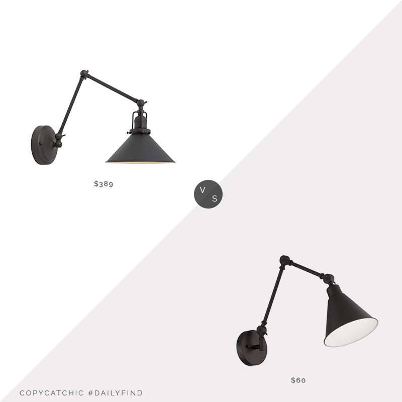Daily Find: Rejuvenation Imbrie Articulating Sconce vs. Lamps Plus Wray Bronze Metal Hardwire Wall Lamp, bronze sconce look for less, copycatchic luxe living for less, budget home decor and design, daily finds, home trends, sales, budget travel and room redos