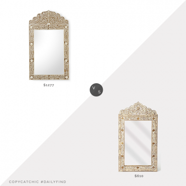 Daily Find: Bellacor Chelsea House Crown Mirror vs. Wayfair Irvington Wood and Bone Inlay Accent Mirror, brown inlay mirror look for less, copycatchic luxe living for less, budget home decor and design, daily finds, home trends, sales, budget travel and room redos