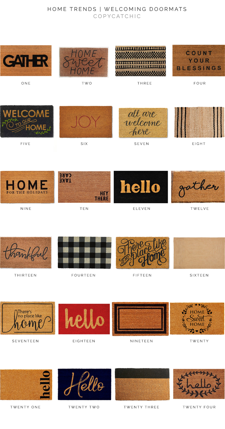 Create curb appeal with a welcoming doormat. Our fave picks to give your guests a warm welcome! copycatchic luxe for less decor