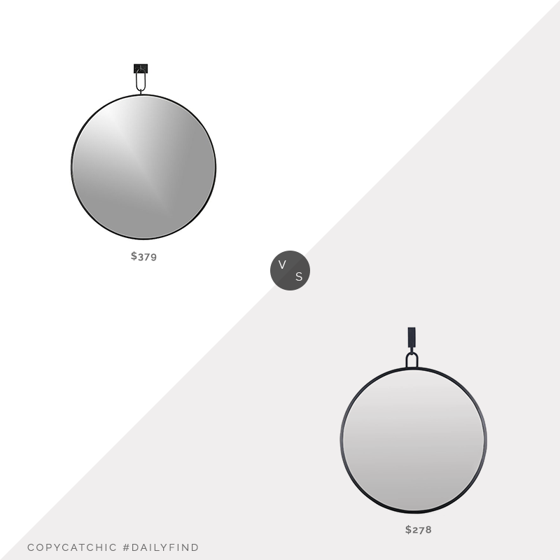 Daily Find: Crate & Barrel Odin Iron Large Pendant Mirror vs. Build.com Varaluz Stopwatch Metal Mirror, round black mirror look for less, copycatchic luxe living for less, budget home decor and design, daily finds, home trends, sales, budget travel and room redos