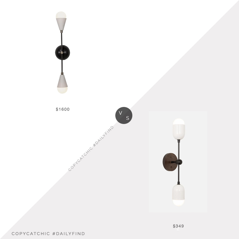 Daily Find: Decaso Dyad Sconce vs. Worley's Pebble Double Sconce, double sconce look for less, copycatchic luxe living for less, budget home decor and design, daily finds, home trends, sales, budget travel and room redos