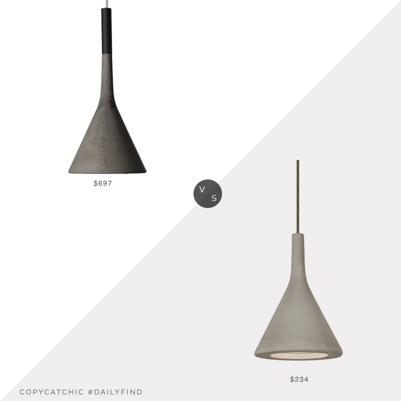 Daily Find: Perigold Foscarini Aplomb Cone Pendant vs. Overstock Besa Gala Pendant, concrete light fixture look for less, copycatchic luxe living for less, budget home decor and design, daily finds, home trends, sales, budget travel and room redos