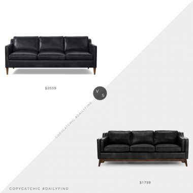 Daily Find: West Elm Hamilton Leather Sofa vs. Article Worthington Oxford Leather Sofa, black leather sofa look for less, copycatchic luxe living for less, budget home decor and design, daily finds, home trends, sales, budget travel and room redos