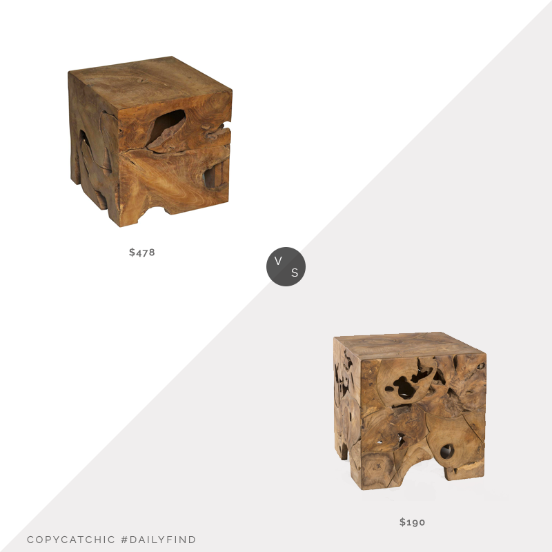 Daily Find: Kathy Kuo Home Rolando Rustic Lodge Teak Wood Cube Side Table vs. Walmart Padmas Plantation Teak Root End Table, teak root side table look for less, copycatchic luxe living for less, budget home decor and design, daily finds, home trends, sales, budget travel and room redos