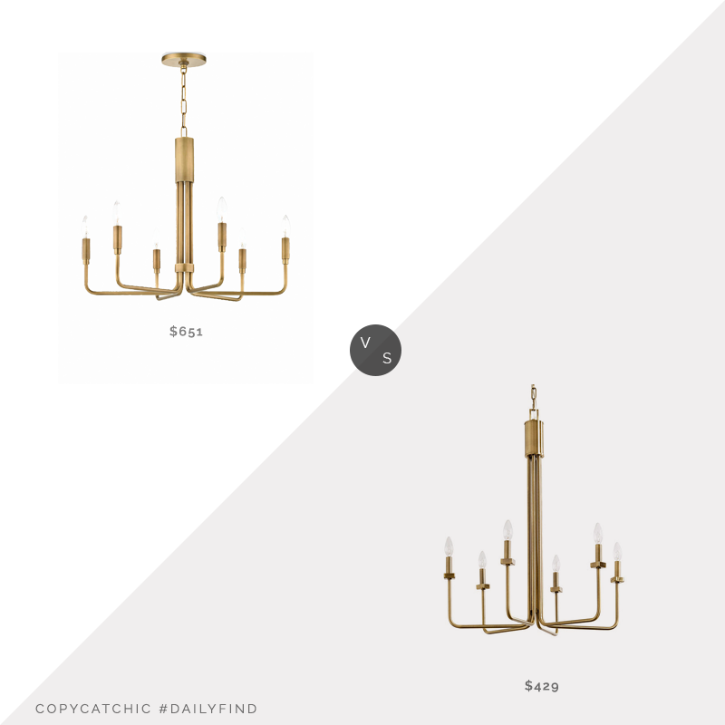 Daily Find: Lulu and Georgia Alexane Chandelier vs. Ballard Designs Bria 6-Light Chandelier, brass chandelier look for less, copycatchic luxe living for less, budget home decor and design, daily finds, home trends, sales, budget travel and room redos
