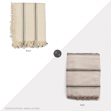 Daily Find: Lulu and Georgia House No. 23 Dulca Bed Cover vs. Amazon The Loomia Sophie Turkish Cotton Boho Throw Blanket, striped fringe blanket look for less, copycatchic luxe living for less, budget home decor and design, daily finds, home trends, sales, budget travel and room redos