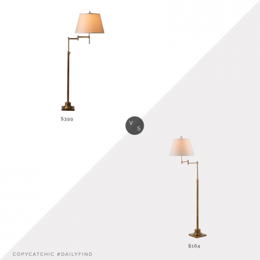 Daily Find: Restoration Hardware Library Swing-Arm Floor Lamp vs. Wayfair Charlton Home Emmeline Swing Arm Floor Lamp, swing arm floor lamp look for less, copycatchic luxe living for less, budget home decor and design, daily finds, home trends, sales, budget travel and room redos
