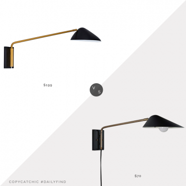 Daily Find: West Elm Curvilinear Mid-Century Long Wall Sconce vs. Amazon Rivet Mid-Century Swiveling Long Arm Wall Sconce, black and gold sconce look for less, copycatchic luxe living for less, budget home decor and design, daily finds, home trends, sales, budget travel and room redos