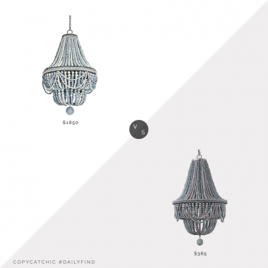 Daily Find: Perigold Regina Andrew Malibu Empire Chandelier vs. Amazon Lovedima Wood Beaded Basket Chandelier, blue wood bead chandelier look for less, copycatchic luxe living for less, budget home decor and design, daily finds, home trends, sales, budget travel and room redos