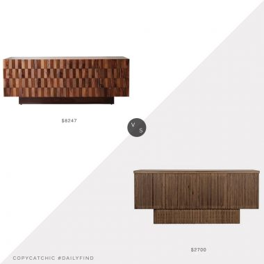 Daily Find: Houzz Teak Wood Media Cabinet vs. Global Home Ribbed Walnut Sideboard, teak sideboard look for less, teak sideboard look for less, copycatchic luxe living for less, budget home decor and design, daily finds, home trends, sales, budget travel and room redos