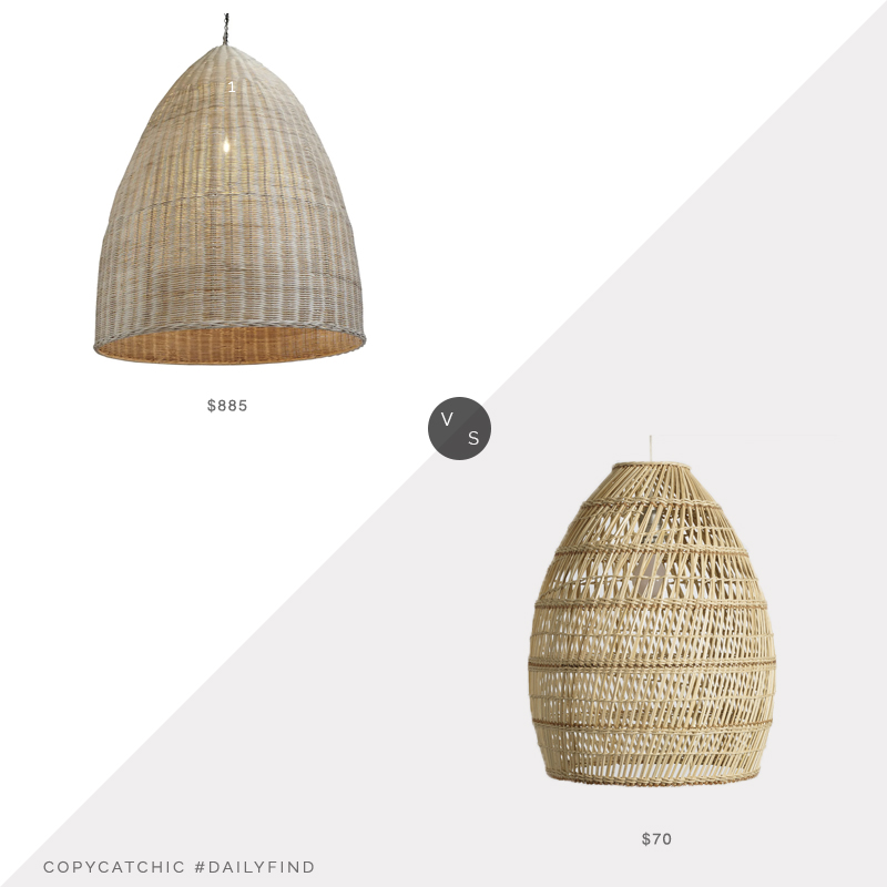 Daily Find: Chairish Raw Wicker Pod Lantern vs. World Market Basket Weave Bamboo Pendant, wicker pendant look for less, copycatchic luxe living for less, budget home decor and design, daily finds, home trends, sales, budget travel and room redos
