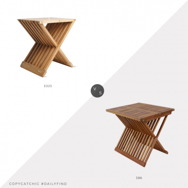 Daily Find: Design Within Reach Fionia Folding Stoolvs. Wayfair Breakwater Bay Treyton Wooden Folding Table, teak folding stool look for less, copycatchic luxe living for less, budget home decor and design, daily finds, home trends, sales, budget travel and room redos