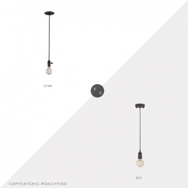 Daily Find: Rejuvenation Burnside Bare Bulb Cord Pendant vs. Amazon Lite Source Umar Pendant, bare bulb pendant look for less, copycatchic luxe living for less, budget home decor and design, daily finds, home trends, sales, budget travel and room redos