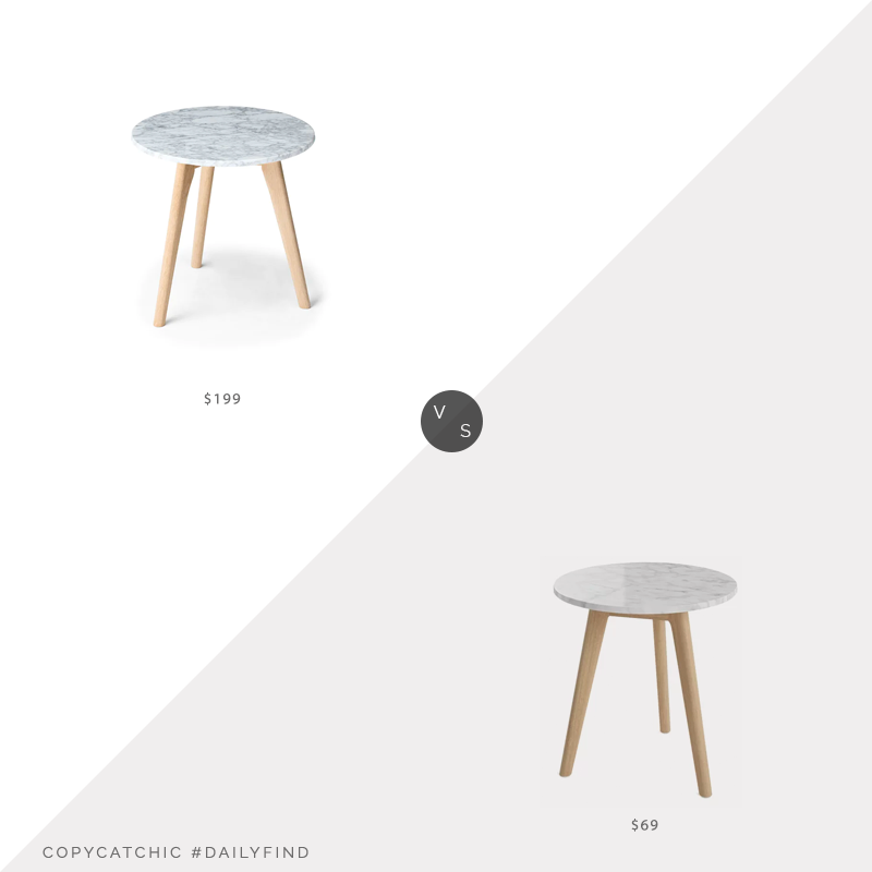 Daily Find: Article Mara Oak Side Table vs. Wayfair George Oliver Drubin End Table, marble side table look for less, copycatchic luxe living for less, budget home decor and design, daily finds, home trends, sales, budget travel and room redos