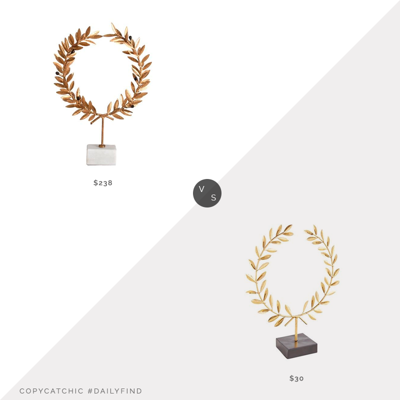 Daily Find: Kathy Kuo Aesop Gold Leaf White Marble Wreath Stand vs. Pier 1 Gold Leaves Sculpture, gold leaf statue look for less, copycatchic luxe living for less, budget home decor and design, daily finds, home trends, sales, budget travel and room redos