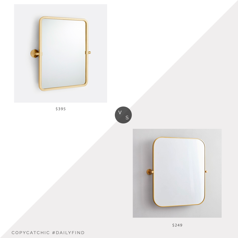 Daily Find: Rejuvenation Canfield Rounded Rectangle Pivot Mirror vs. West Elm Metal Frame Pivot Wall Mirror, gold rounded rectangle mirror look for less, copycatchic luxe living for less, budget home decor and design, daily finds, home trends, sales, budget travel and room redos