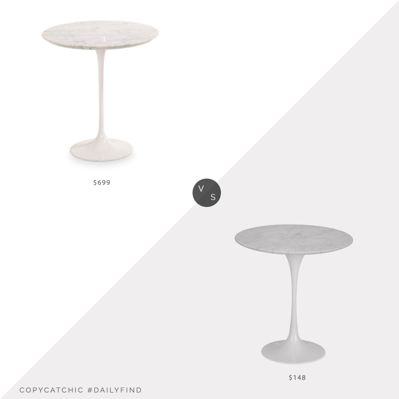 Daily Find: Room & Board Saarinen End Table vs. Walmart Poly & Bark Daisy Marble Side Table, tulip side table look for less, copycatchic luxe living for less, budget home decor and design, daily finds, home trends, sales, budget travel and room redos