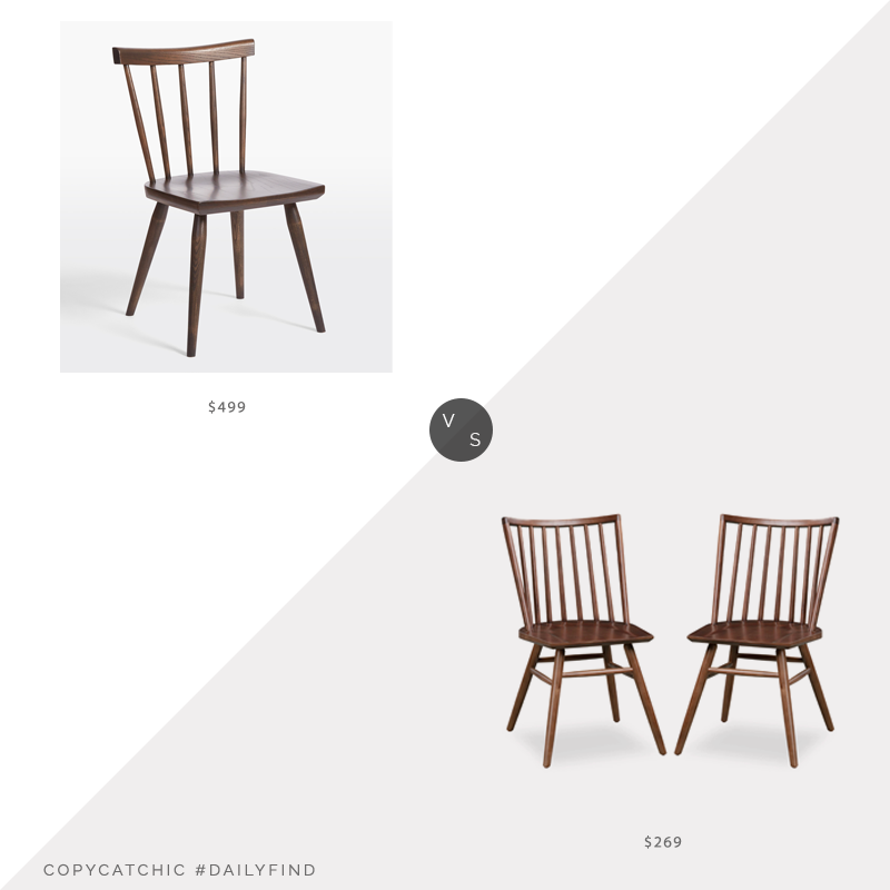 Daily Find: Rejuvenation Weatherby Side Chair vs. Poly & Bark Talia Dining Chair Set of Two, wood dining chair look for less, copycatchic luxe living for less, budget home decor and design, daily finds, home trends, sales, budget travel and room redos