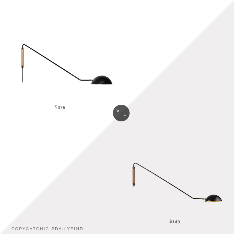 Daily Find: Stuff by Andrew Neyer Swing Dome Light vs. CB2 Mantis Swivel Wall Sconce Black, black swing arm sconce look for less, copycatchic luxe living for less, budget home decor and design, daily finds, home trends, sales, budget travel and room redos