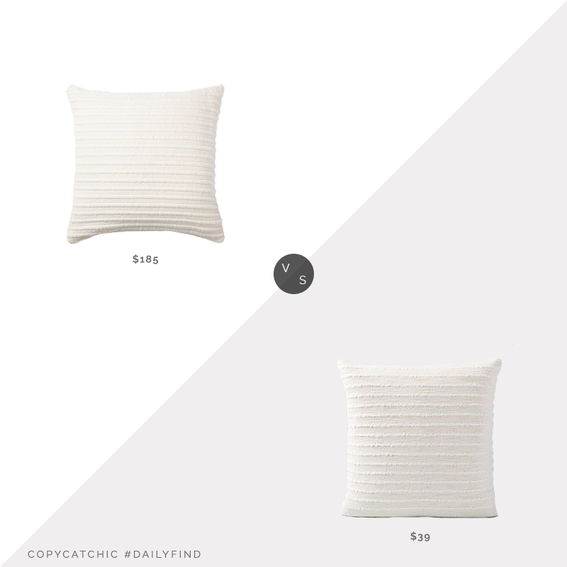 Daily Find: The Citizenry La Duna Pillow vs. West Elm Soft Corded Pillow Cover, white striped pillow look for less, copycatchic luxe living for less, budget home decor and design, daily finds, home trends, sales, budget travel and room redos