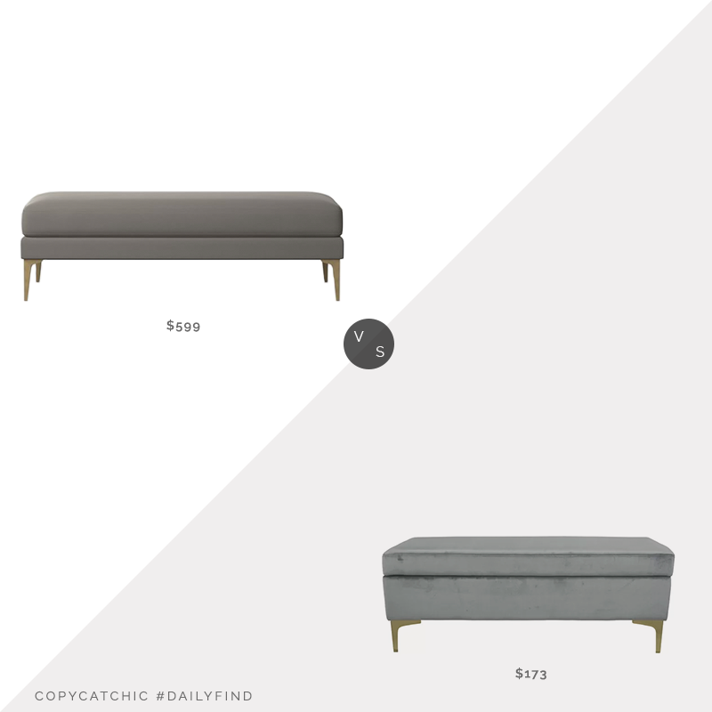 Daily Find: West Elm Andes Bench vs. Wayfair Wadlington Upholstered Bench, gray velvet bench look for less, copycatchic luxe living for less, budget home decor and design, daily finds, home trends, sales, budget travel and room redos