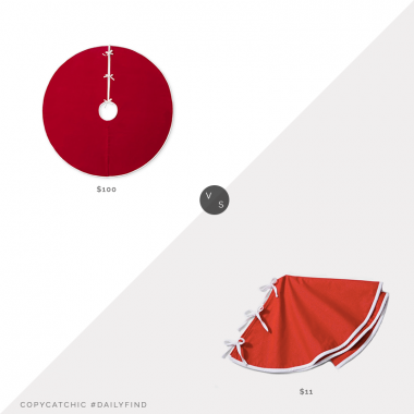 "Daily Find: Williams Sonoma Velvet Tree Skirt 64"" vs. Target Reversible Christmas Tree Skirt 34"", red tree skirt look for less, copycatchic luxe living for less, budget home decor and design, daily finds, home trends, sales, budget travel and room redos"